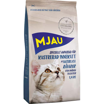 Kattmat Kyckling för kastrerad innekatt 1,4kg Mjau