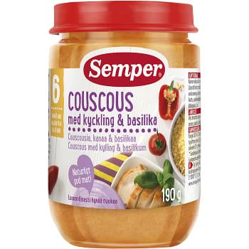 Couscous med kyckling & basilika Från 6m 190g Semper