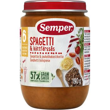 Spagetti med köttfärssås Från 6m 190g Semper