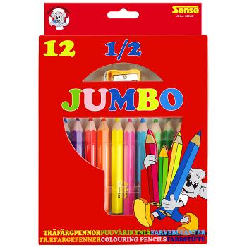 Träfärgpennor 1/2 Jumbo 12-p Sense