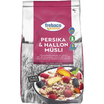 Müsli Persika Hallon Utan tillsatt socker 700g Frebaco