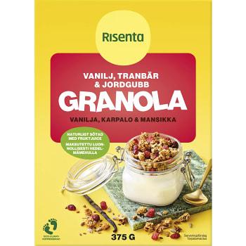 Granola Vanilj tranbär & jordgubb 375g Risenta