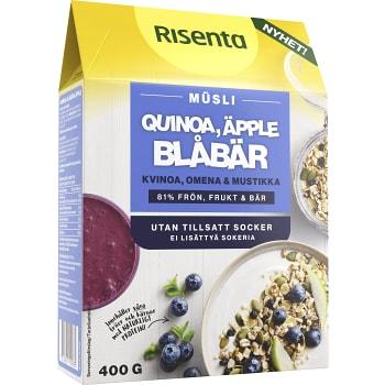 Müsli Quinoa, Äpple & Blåbär 400g Risenta