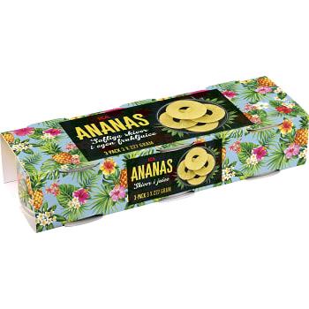 Ananas Skivor i juice 227g 3-p ICA