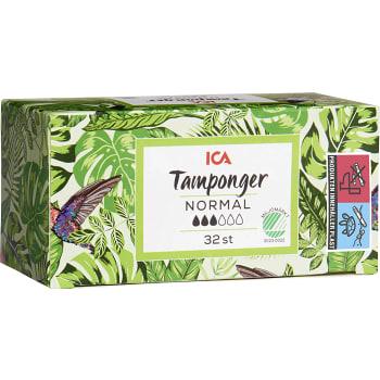 Normal Tampong 32-p Miljömärkt ICA