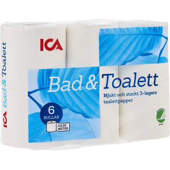 Toalettpapper 6-p Miljömärkt ICA
