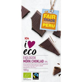 Mörk choklad Ekologisk 100g ICA I love eco