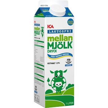 Mellanmjölkdryck Laktosfri 1,5% 1l ICA