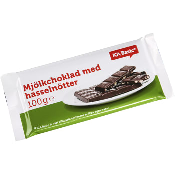 Mjölkchoklad med Hasselnötter 100g ICA Basic