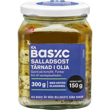 Salladsost Tärnad i olja 300g ICA Basic