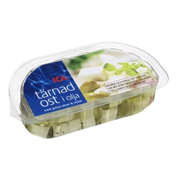 Tärnad ost i olja Gröna oliver & vitlök 100g ICA