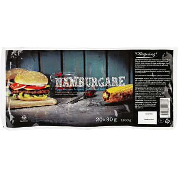 Hamburgare Fryst 20x90g 1,8kg ICA