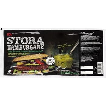 Hamburgare Fryst 4x150g 600g ICA