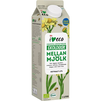 Mellanmjölk 1,5% 1l KRAV ICA I love eco