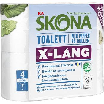 Toalettpapper X-lång 4-p Miljömärkt ICA Skona