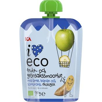 Frukt & grönsakssmoothie Äpple banan & sötpotatis Från 6m Ekologisk 90g ICA I love eco