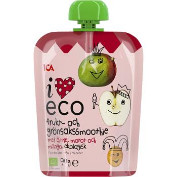 Frukt & grönsakssmoothie Äpple morot & mango Från 6m Ekologisk 90g ICA I love eco