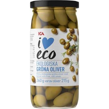 Gröna Oliver med kärnor Ekologisk 360g ICA I love eco