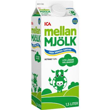 Mellanmjölk Lite längre hållbarhet 1,5% 1,5l ICA