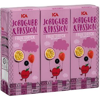 Fruktdryck Jordgubb&Passion 3-p 60cl ICA