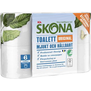 Toalettpapper Original 6-p Miljömärkt ICA Skona