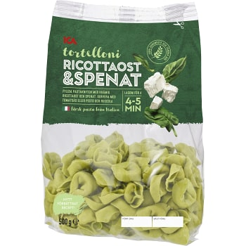 Pasta Tortelloni Ricotta & spenat Färsk 500g ICA