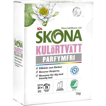 Tvättmedel Kulörtvätt Parfymfri 1kg Miljömärkt ICA Skona
