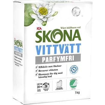 Tvättmedel Vittvätt Parfymfri 1kg Miljömärkt ICA Skona