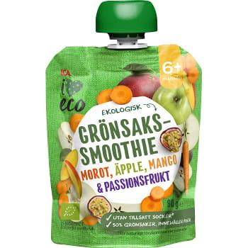 Smoothie Grönsaks- & fruktpuré Blandad smak 6+mån 90g ICA I love eco