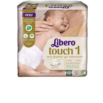 Blöjor Touch Storlek 1 2-5kg Miljömärkt 22-p Libero