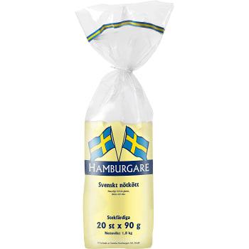 Hamburgare Fryst 20x90g 1,8kg Svenska Hamburgare