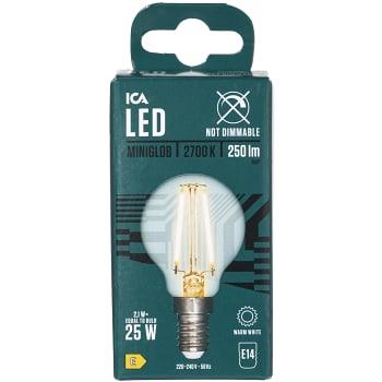 LED-lampa filament Klot 2,3W 250lm E14 ICA Home