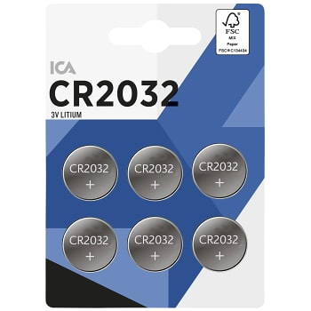 Knappcell 3V CR2032 Litium 6-p ICA