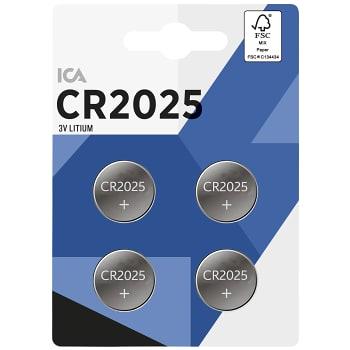 Knappcell 3V CR2025  Litium 4-p ICA