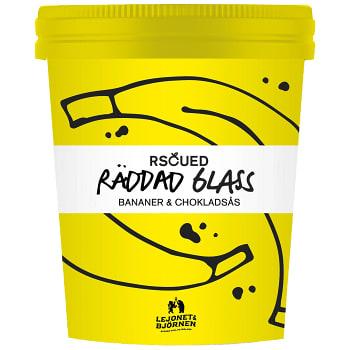 Räddad Glass Banan & Chokladsås 500ml RSCUED Lejonet&Björnen