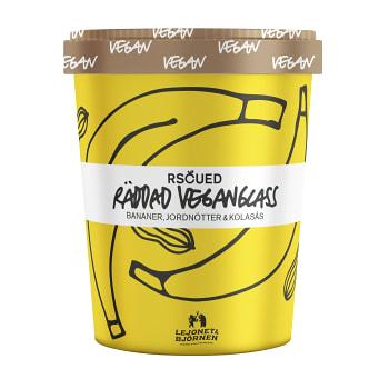Veganglass Bananer Jordnötter & Kolasås 500ml RSCUED Lejonet&Björnen