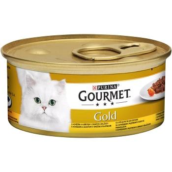 Kattmat Oxkött och kyckling i sås 85g Gourmet