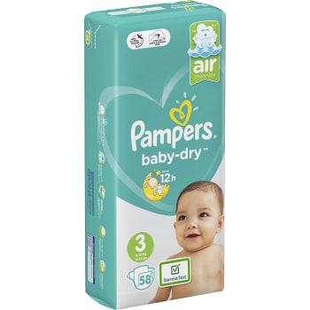 Blöjor Baby dry Strl 3 6-10kg 58-p Pampers