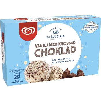 Gräddglass Vanilj med krossad choklad 500ml GB Gräddglass