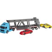 Transportbil med två Porsche bilar