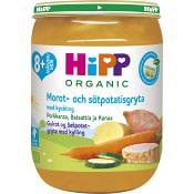 Morot & sötpotatisgryta med kyckling Från 8m Ekologisk 190g Hipp