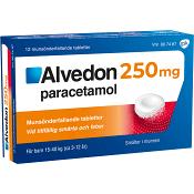 Alvedon Barn 3-12 år Munsönderfallande tablett 250mg 12-p