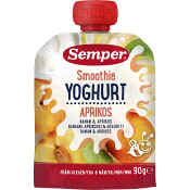 Smoothie yoghurt Banan & aprikos Från 6m 90g Semper