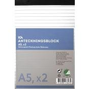 Anteckningsblock A5 2-p linjerat ICA Home