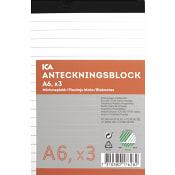 Anteckningsblock A6 3-p linjerat ICA Home