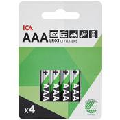 Batteri AAA LR03 4-p ICA Home