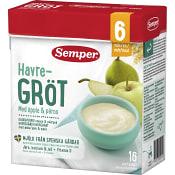 Fruktgröt Äpple & päron Från 6m 16 port 480g Semper