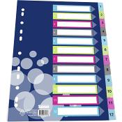 Plastregister A4 1-12 färg Sense