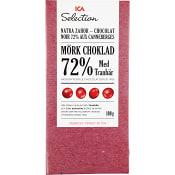 Mörk choklad med Tranbär 72% 100g ICA Selection
