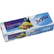 Tonfisk i vatten 95g 3-p ICA
